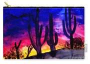 Sunset On Cactus Carry-all Pouch by Michael Grubb