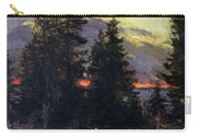 Sunset Over A Winter Landscape Carry-all Pouch by Abram Efimovich Arkhipov