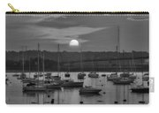 Sunset Over Salem Harbor Salem Beverly Bridge Black And White Carry-all Pouch