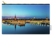 Sunset To Blue Hour Panorama Over Gamla Stan In Stockholm Carry-all Pouch