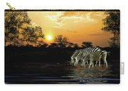 Sunset Zebras At The Watering Hole Carry-all Pouch