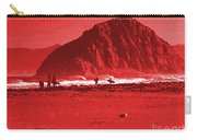 Surfers On Morro Rock Beach In Red Carry-all Pouch