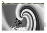 Surfing The Pacific In Black And White Carry-all Pouch