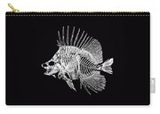 Surgeonfish Skeleton In Silver On Black  Carry-all Pouch