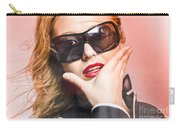 Surprised Young Woman Wearing Fashion Sunglasses Carry-all Pouch
