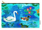 Swan And Two Ducks Carry-all Pouch by Sushila Burgess