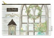 Sweet Life Farmhouse 3 Gothic Window Lantern Floral Shiplap Wood Carry-all Pouch