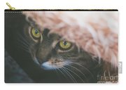 Tabby Cat Looking From Beneath A Blanket  Carry-all Pouch