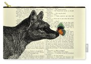 Tasmanian Tiger And Orange Butterfly Antique Illustration On Dictionary Page Carry-all Pouch
