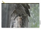 Tawny Frogmouth With It's Eyes Closed And Wing Extended Carry-all Pouch