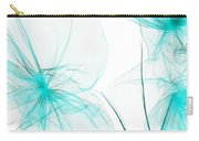 Teal Abstract Flowers Carry-all Pouch