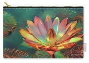 Teal And Peach Waterlilies Carry-all Pouch