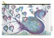 Teal Hearted Peacock Watercolor Carry-all Pouch