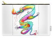 Technicolor Dragon -- Rainbow-colored Whimsical Dragon  Carry-all Pouch