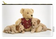 Teddy Bear With Puppies Carry-all Pouch by Jane Burton