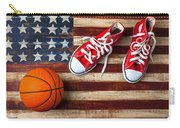 Tennis Shoes And Basketball On Flag Carry-all Pouch