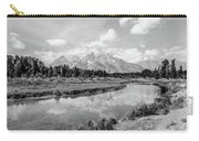 Tetons At Schwabacher Landing Monochrome Carry-all Pouch