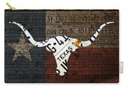 Texas Longhorn Recycled Vintage License Plate Art On Lone Star State Flag Wood Background Carry-all Pouch