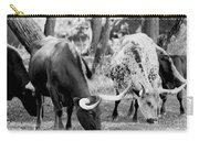 Texas Longhorn Steer In Black And White Carry-all Pouch