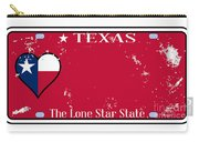 Texas State License Plate With Damage Carry-all Pouch