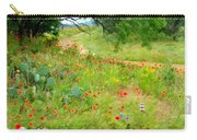 Texas Wildflowers And Cactus - Country Road Carry-all Pouch