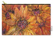 Textured Gold And Red Sunflowers Carry-all Pouch