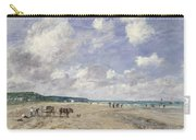 The Beach At Tourgeville Carry-all Pouch by Eugene Louis Boudin