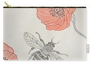 The Bee And Red Poppies  Carry-all Pouch
