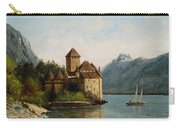 The Castle Of Chillon Evening Carry-all Pouch by Gustave Courbet