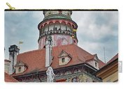 The Cesky Krumlov Castle Tower With A Fountain Below Within The Czech Republic Carry-all Pouch