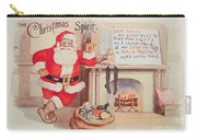 The Christmas Spirit Vintage Card Santa Next To Fireplace Carry-all Pouch