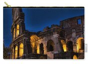 The Coleseum In Rome At Night Carry-all Pouch by David Smith