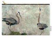 The Dance Of Life - Great Blue Herons In Mating Ritual - Digital Painting Carry-all Pouch