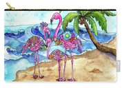 The Flamingo Family's Day At The Beach Carry-all Pouch