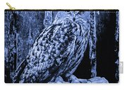 Majestic Great Horned Owl Blue Indigo Carry-all Pouch