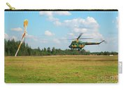 The Helicopter Over A Green Airfield. Carry-all Pouch