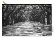 Live Oaks Lane With Shadows - Black And White Carry-all Pouch