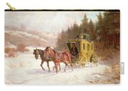The Post Coach In The Snow Carry-all Pouch by Fritz van der Venne