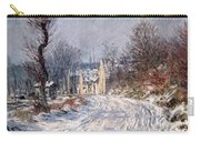 The Road To Giverny In Winter Carry-all Pouch by Claude Monet
