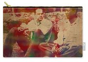 The Shawshank Redemption Movie Inspired Watercolor Portrait Of Tim Robbins And Morgan Freeman On Worn Distressed Canvas Carry-all Pouch