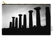 The Temple Of Hercules. Agrigento, Sicily.    Black And White Carry-all Pouch