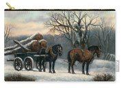 The Timber Wagon In Winter Carry-all Pouch by Anonymous