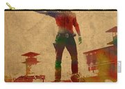 The Walking Dead Watercolor Portrait On Worn Distressed Canvas No 1 Carry-all Pouch