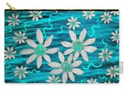 Three And Twenty Flowers On Blue Carry-all Pouch