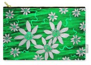 Three And Twenty Flowers On Green Carry-all Pouch