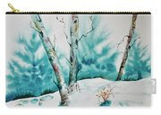 Three Aspens On A Snowy Slope Carry-all Pouch