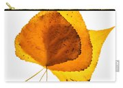 Three Backlit Cottonwood Leaves In Autumn On White Carry-all Pouch