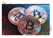 Three Bitcoin Coins In A Colorful Lighting. Carry-all Pouch