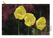 Three Blooming Yellow Tulips Of Different Heights Carry-all Pouch