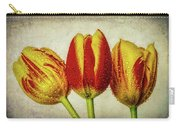 Three Dew Covered Tulips Carry-all Pouch